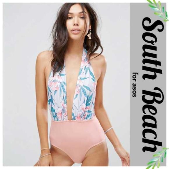 848268e0df1e3 ASOS Swim | South Beach Floral Tropical Deep Plunge Suit | Poshmark